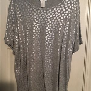 H & M Silver Foiled Tee! New